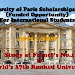 University of Paris Scholarships 2021 (Funded Opportunity) for International Students